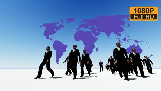 Thumbnail for Walking Business People with World Map