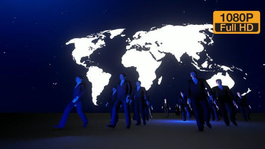 Business People Walking and World Map at Night