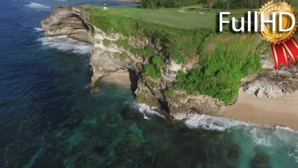 Thumbnail for Aerial View of Coastline, Beach, Cliffs and Golf