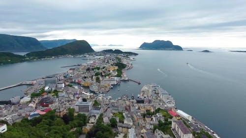 City of Alesund Norway Aerial Footage