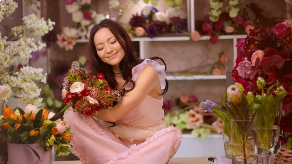 Thumbnail for Woman and Flowers. Asian Girl with Bouquets