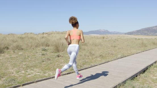 Back View of Jogging Woman