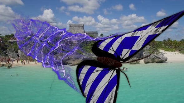 Greece Flag  Butterfly Gorgeous Particle Light Trailing Flying Transtion V2