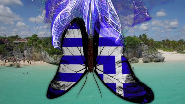 Greece Flag  Butterfly Gorgeous Particle Light Trailing Flying Transtion V4