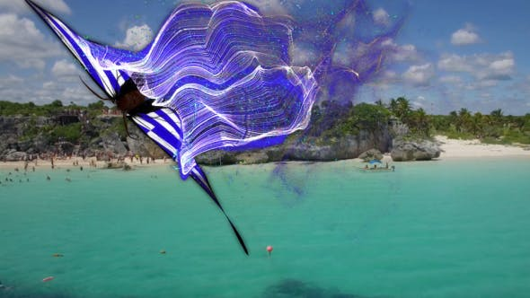 Greece Flag Butterfly Gorgeous Particle Light Trailing Flying Transtion V3
