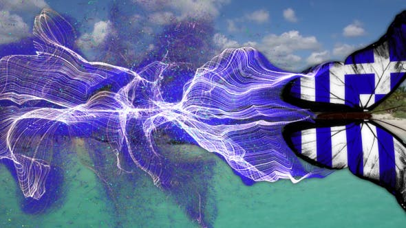 Greece Flag  Butterfly Gorgeous Particle Light Trailing Flying Transtion V5