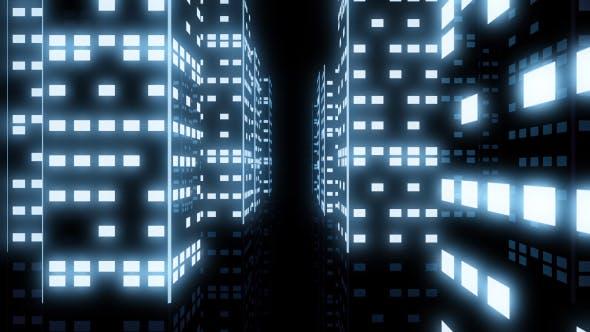 City Night Neon White Tunnel