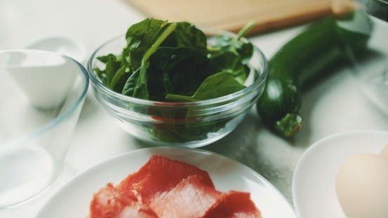 Thumbnail for Shot Of Salmon With Zucchini And Spinach On Counter