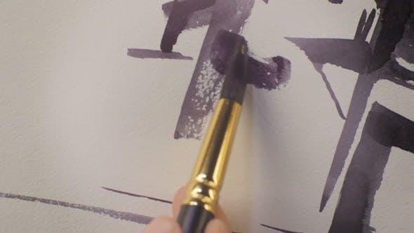 Thumbnail for Makro Artist zeichnet einige Sketch details mit Pinsel