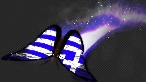 Greece Flag Butterfly Dynamic Flying Particle Tail V1