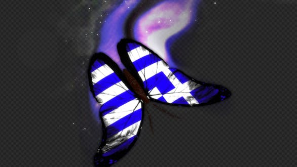 Greece Flag Butterfly Dynamic Flying Particle Tail V3