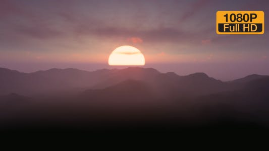 Thumbnail for Time-lapse Sunset Foggy Mountain