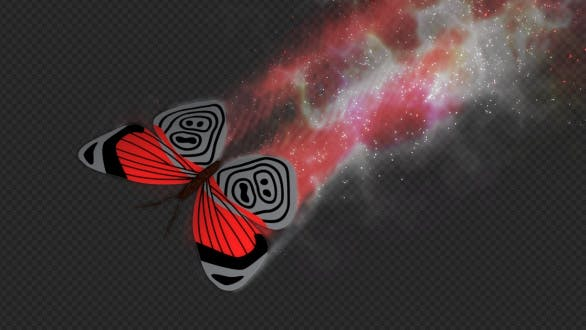 Red Dark Butterfly Dynamic Flying Particle Tail V3