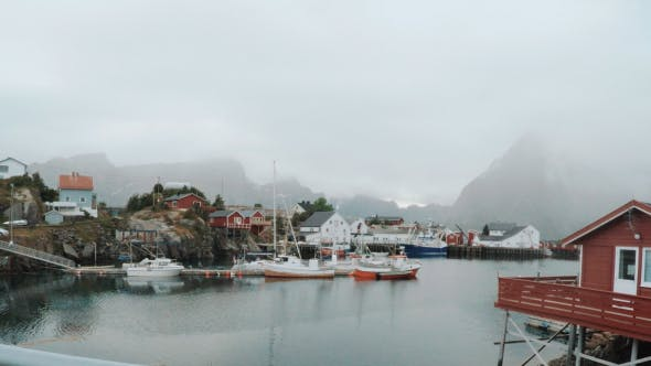 Thumbnail for Fisherman Boats in Scandinavia Village Port