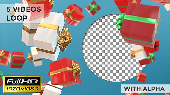 Thumbnail for Xmas Gift Boxes Loop Background
