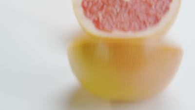 Grapefruit Halves on White Background