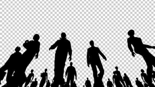 Silhouetten von Menschen zu Fuß