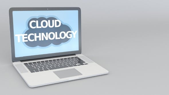 Thumbnail for Opening and Closing Laptop with Cloud Technology Inscription on the Screen