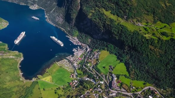 Thumbnail for Geiranger Fjord, Beautiful Nature Norway Aerial Footage.