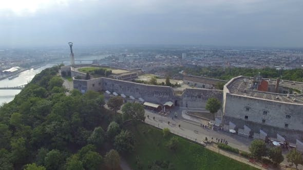 Aerial View of Liberty Statue at Gellert Hill in Budapest.