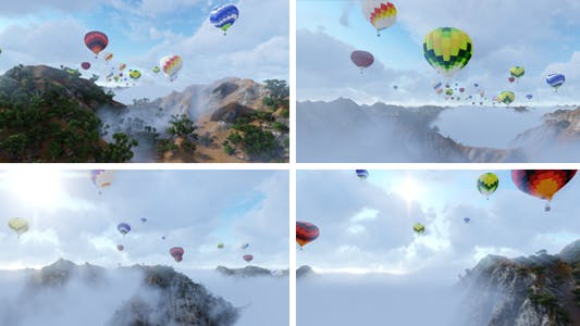 Thumbnail for Hot Air Balloons Flying Over Cloudy Mountains