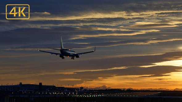 Thumbnail for Commercial Aircraft Landing at Barcelona Airport at Sunset