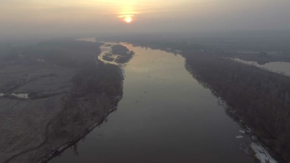 Thumbnail for Aerial View of Sunrise Above Winding River in Ukraine