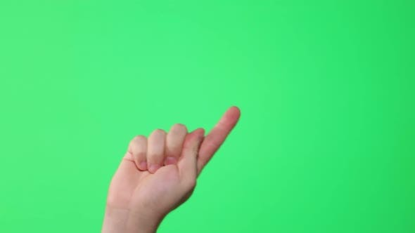 Male hand showing multitouch gestures on green screen
