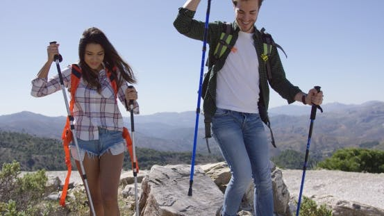 Thumbnail for Smiling Couple Trekking