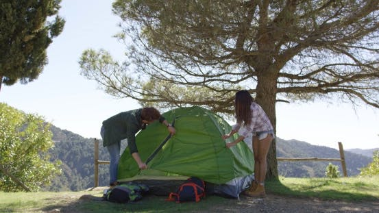Thumbnail for Couple Setting Tent Under Trees