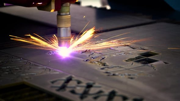 Cover Image for CNC Laser Plasma Cutting of Metal, Modern Industrial Technology.