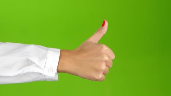Thumbnail for Sign Language. Hand Showing Thumbs Up on Green Screen Background