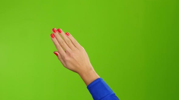 Thumbnail for Right Hand Is Widely Waving Goodbye or Hello. Green Screen