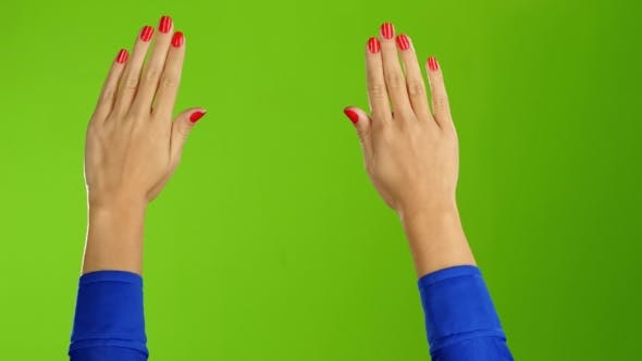 Thumbnail for Two Female Hands Waving Hello or Goodbye. Green Screen Background