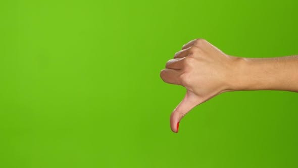 Thumbnail for Sign Language. Thumbs Down Female Hand on Green Screen Background