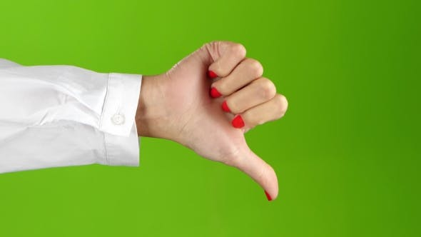 Thumbnail for Sign Language. Thumbs Down Woman Hand on Green Screen Background