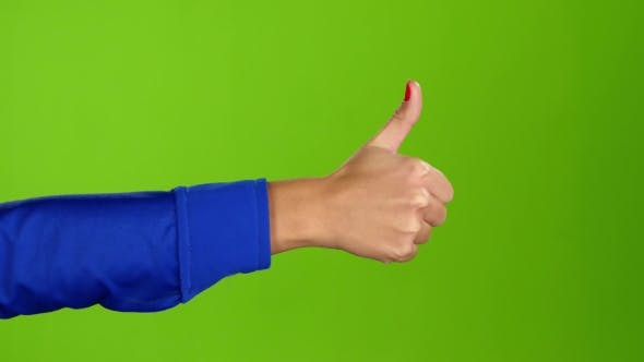 Thumbnail for Hand Showing Thumbs Up Twice Per Frame. Greeen Screen Studio