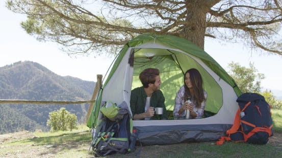 Thumbnail for Smiling People Having Rest in Tent