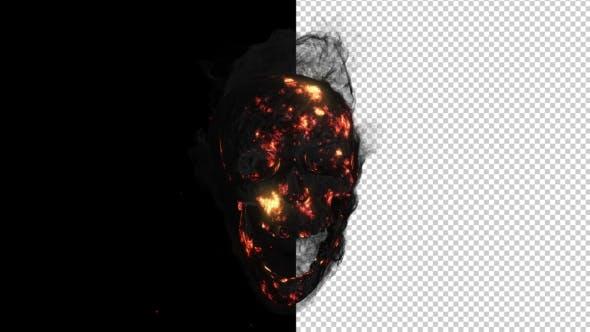 Animation Fire a Smoking Skull