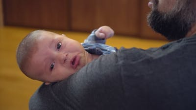 Crying Newborn with Dad.
