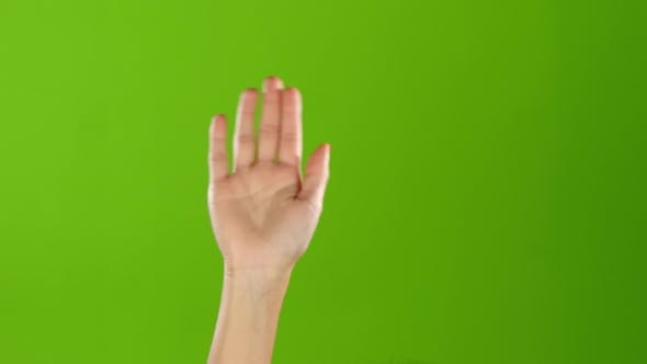 Thumbnail for Girl with Manicure Waving Hello Raising Hand Up. Green Screen