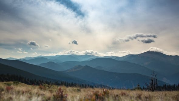 Thumbnail for Time Laps. Rolling Clouds Over Mountains in Karpatian