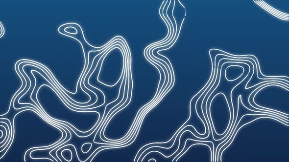 Animation of moving white thin lines on digital topographic map