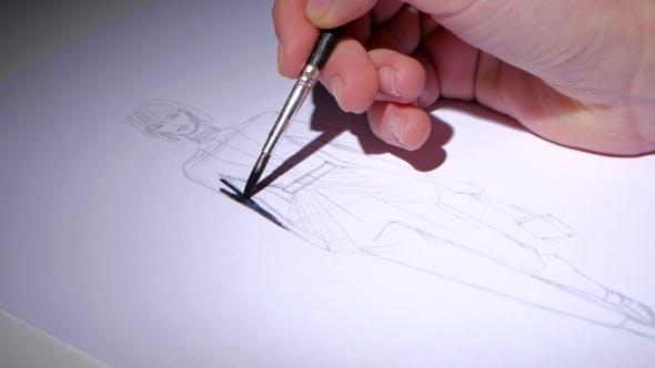 Thumbnail for Designer Farben die Sketch des Kleides mit schwarzer Farbe.