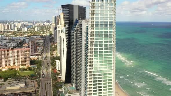 Aerial Reveal Luxury Highrise Condominiums Miami Beach Dade County Fl