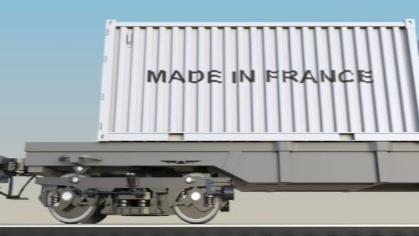 Thumbnail for Moving Cargo Train and Containers with MADE IN FRANCE Caption
