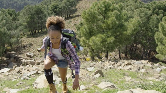Thumbnail for Fit Girl Climbing Hill