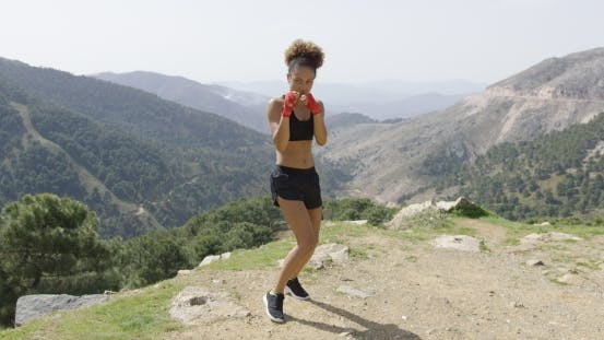 Thumbnail for Fit Boxing Woman Looking Aggressive