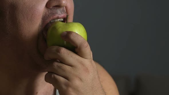 Thumbnail for Plump Guy Eating Apple, Overcoming Unhealthy Food Addiction, Losing Weight