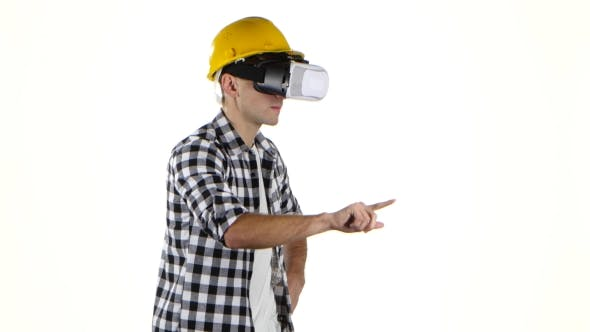 Thumbnail for Engineer in Yellow Helmet Works with Help of Vr Glasses